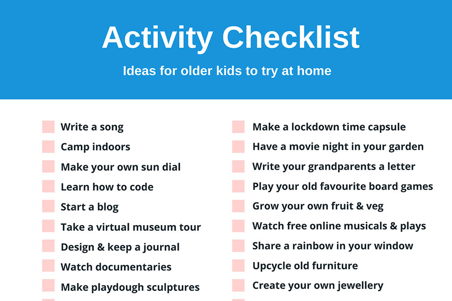 Activity Checklist For Older Kids - Play Ideas - PlayBoard NI
